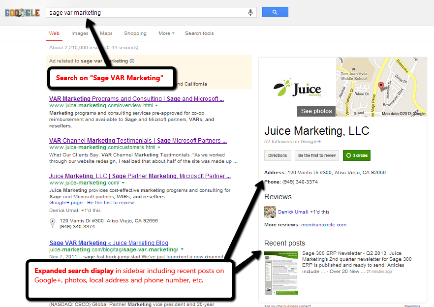 "Expanded Juice Marketing Search Display for ""Sage VAR Marketing"" on Google"