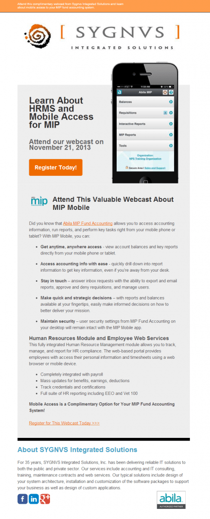 Webcast Invitation for MIP Mobile