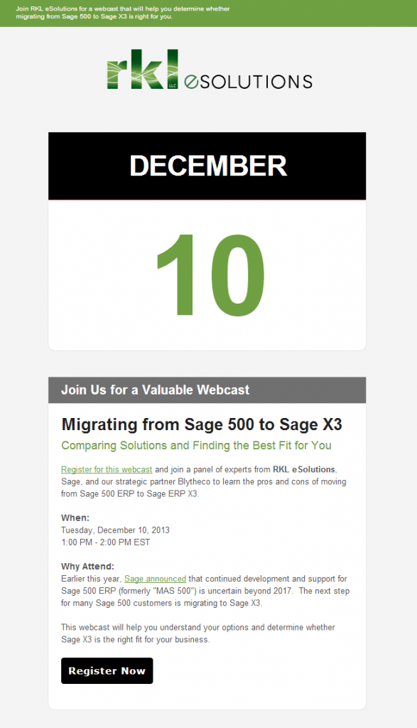 Sage X3 Webcast Invitation