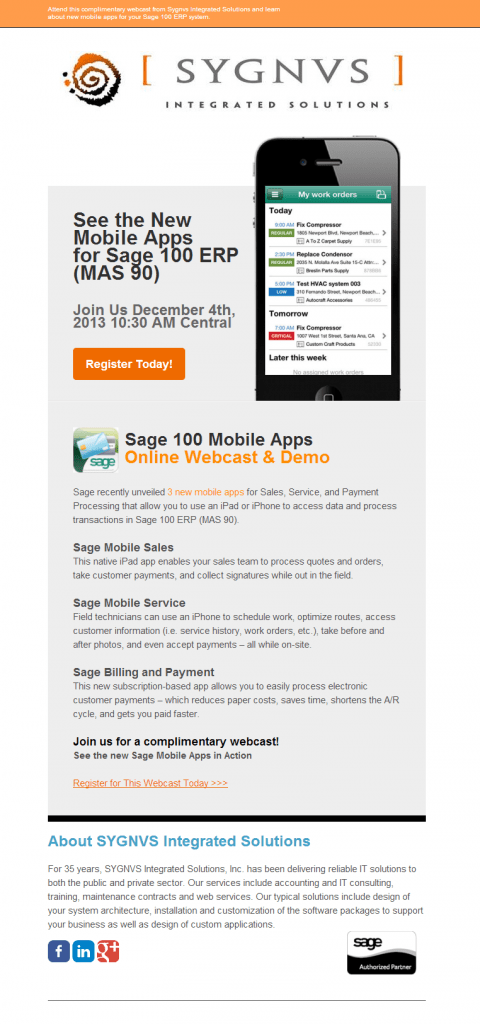 Webcast Invitation for Sage 100 ERP Mobile