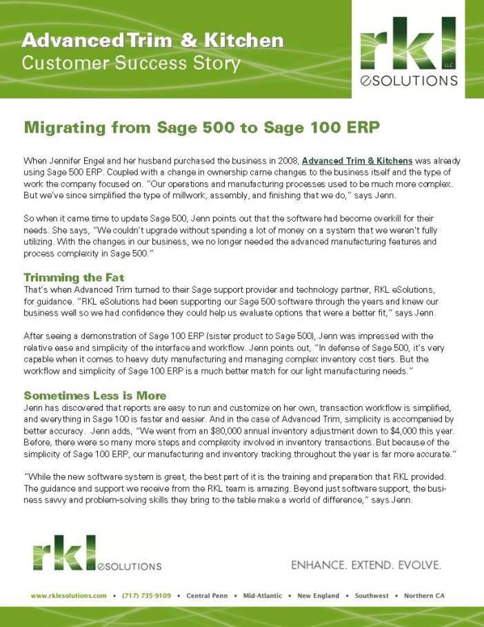 Sage 500 Migration to Sage 100 ERP