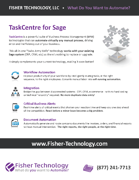 Fisher Technology TaskCentre Brochure for Sage Summit