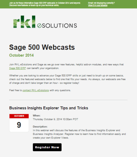 Customer Invitation to Upcoming Sage 500 ERP Webcasts