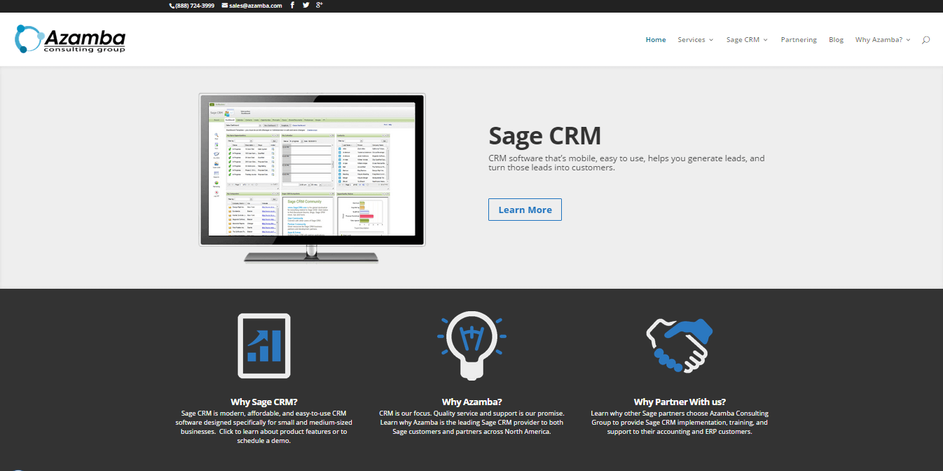 Azamba Sage CRM Website Redesign