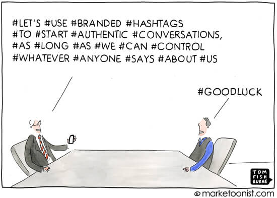 Social Media Cartoons - Going Hashtag Crazy