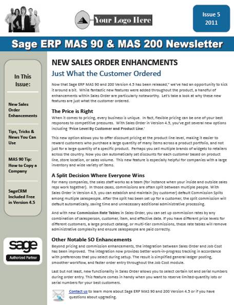 Sage MAS 90 Newsletter - January 2012