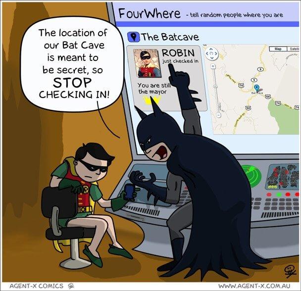 Social Media Cartoons - Bat Cave Check In