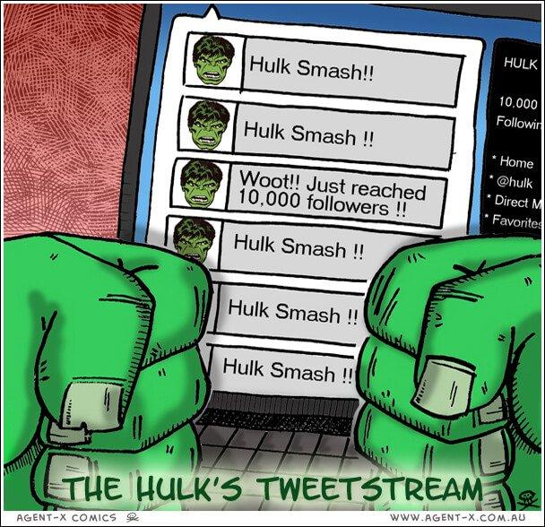 Social Media Cartoons - The Hulk's Tweetstream