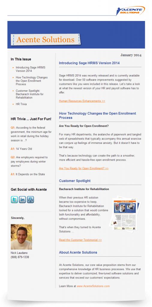 Acente Newsletter (Jan 2014)