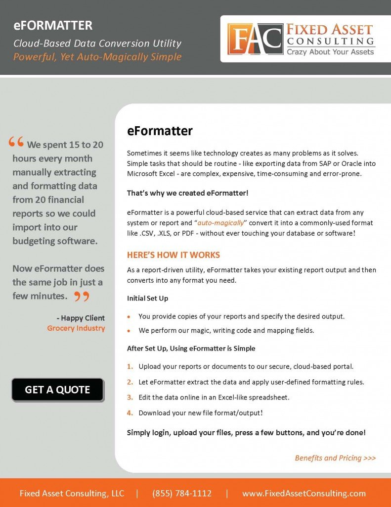 eFormatter Brochure for Fixed Asset Consulting