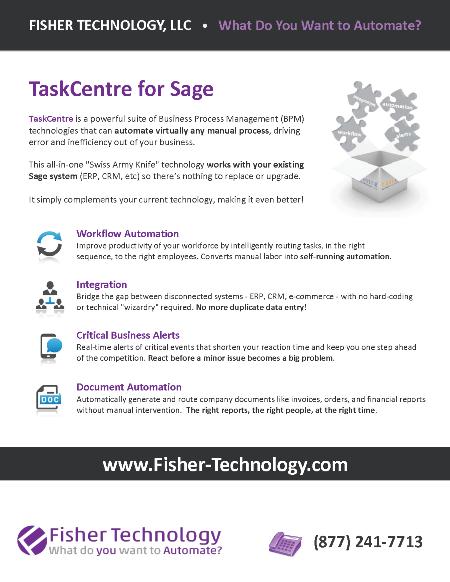 Fisher Technology TaskCentre Brochure for Sage Summit