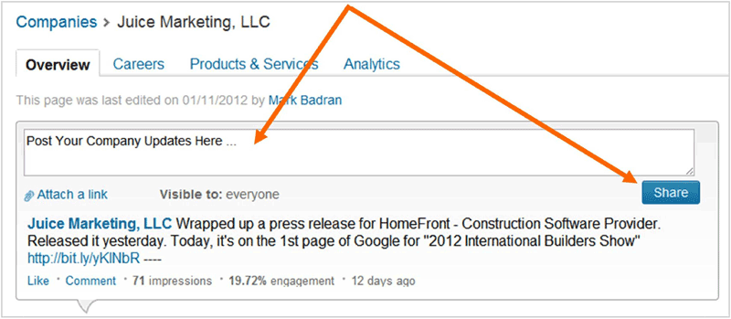 LinkedIn Company Update Post