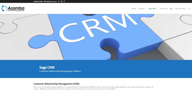 Azamba Sage CRM Page