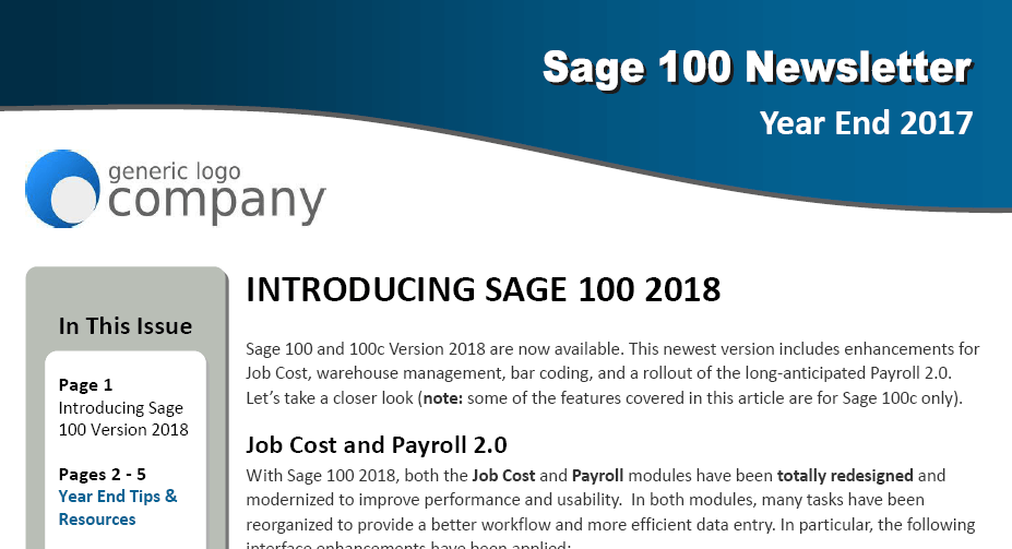 Sage 100 Year End 2017 Newsletter Thumb